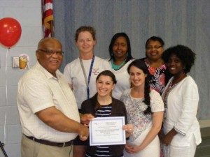 Team members from Cumberland Elementary School are (L-R, front row) Van Petty, Foundation Board member Chiara Hoyt, Emily Overstreet, Georgina Handy, (back row) Glenda Grubbs, Tiffany Hurt, Rachel Johnson. Not pictured: Brenda Carrier, Jennifer Turner, Kathryn Garrett, Stephanie Hammond and Virginia Gills.