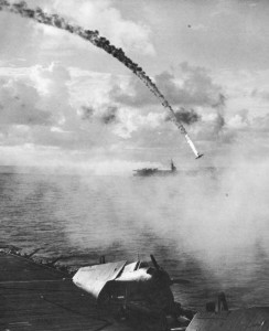Hellcat Fighter pilot Robert McIlwaine was one of the first Americans shot down by anti-aircraft fire during the battle for Saipan in the Marianas Campaign in Japan. This photograph was taken during the skirmish.