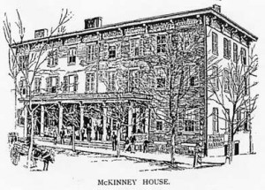Woodcut (1890) of the Randolph House, renamed McKinney House to honor Farmville's own Phillip W. McKinney (1832-1899) when he was elected governor. It is interesting to note that it was run by the governor's brother, Robert J. McKinney (1838-1906). Another brother, Samuel B. McKinney (1833-1896), Farmville dry-goods merchant, was on the board of directors of the Farmville Coal & Iron Company. All three brothers are buried in Westview Cemetery.