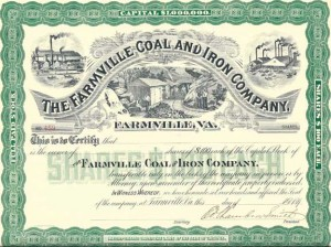 "JIMMY HURT This unexecuted stock certificate (no. 459) for the ""The Farmville Coal And Iron Company,"" is available on eBay for $29.95. It is signed by ""Ed. Chambers Smith,"" a famous Southern attorney and judge, who succeeded Julian S. Carr as president in January 1891."