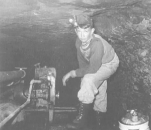 """(Photo courtesy Billy Poulston) The Piedmont Coal Mine in Cumberland was pumped out and reopened in 1951 by George M. Stuart (1908-1984), with the help of his son, David M. """"Jack"""" Stuart (1938-1995), shown here at age 12. After exploring the mine, which has an estimated 40-inch thick coal seam, it was again abandoned and soon re-flooded."""