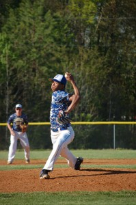 Cumberland High School's E.J. Rose as he pitches against the Bluestone High School Barons in April. Hannah Davis - Herald