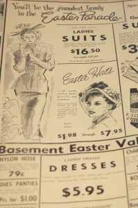 Hats were important accessories for fashion-conscious women in the 1940s. This advertisement appeared in a 1949 issue of The Farmville Herald.