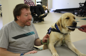 Twix, who was raised and trained by Roberts, is now in Massachusetts helping Christopher McGarry with his day-to-day activities.