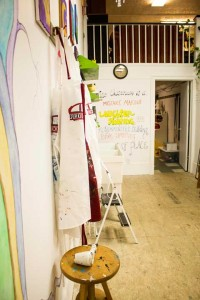 Stained smocks await their next artist to begin creating a masterpiece at Red Door 104 art studio.