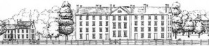 A sketch by Deborah McClintock shows the heart of the Hampden-Sydney campus in the 1850s. Cushing Hall, where the murder took place, is the large four-story building. The fence kept cattle from joining students on the way to class.