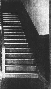 Charles Edie was struck down at the foot of these stairs in Cushing Hall. Classmates carried his dying body up the stairs to the second floor where he succumbed.