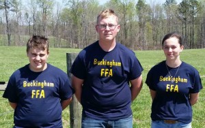 Members of Buckingham Team B, from left, are Chandler Sexton, Trevor Agee and Brandy Snoddy.