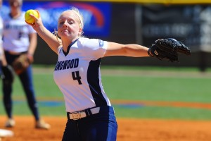 Longwood University freshman Sydney Gay pitches against Campbell University on Saturday, helping spearhead the Lancers' 10-0 win in the Big South Conference softball tournament championship game at Terry Field in Rock Hill, S. C.