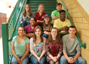 Buckingham County seniors were recently recognized for volunteer service to their community. Each of the seniors earned a Green Cord to honor the act of volunteering at least 100 hours in their senior year. Pictured are, from left, front row, Alexandra Ayala, Charlotte Powell, Shelby Wise, Michael Allen, middle, La'Shae Johnson, Ashley Hellerstedt, Michael Mabry, Jr., back, Carly Jones, Kaitlyn Shumaker and Austin Williams. Not pictured are Bailey Anderson, Adrianna Coleman, Brent Davis, Cody Smith and Clinton Toney. (Photo by Italia Gregory)