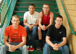 The JROTC program produced students who gave over 200 hours of community service as part of their senior year. Pictured are, from left, Jason Gormus, K'Juan Gough, Cody Shook and Ronald Bagby III. Gough has joined the U.S. Air Force and Bagby will serve in the National Guard. (Photo by Italia Gregory)