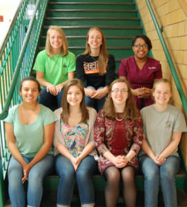 Buckingham families gave generously to the high school's students in memory of their loved ones to the Class of 2016. Pictured are, from left, front row, Alexandra Ayala (Harrison Davis), Charlotte Powell (F. D. Johns, Sharon Dowdy Tew), Shelby Wise (Jasmine Cher'rae Benson), Emily LeSueur (Harrison Davis and Meghan C. Snoddy), back, Melissa Wright (Dr. Sam Jones, John Buschmann), Ashley Hellerstedt (Dr. Sam Jones, Ella Senger Payne) and Ly'Shae Johnson (Meghan C. Snoddy). (Photo by Italia Gregory)