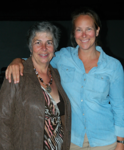 """Terri Atkins Wilson and Jennifer Miskec, right, enjoy the """"thank you"""" directed to them via the party, as both have served as volunteers for the Farmville Downtown Partnership."""