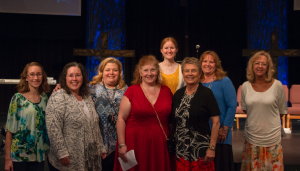 CARSON REEHER| HERALD Some of the teachers who worked with the graduates during their time at New Life Schools are, from left, Samantha Day, Joan Osborne, Gwen Rigney, Lori Paulsen, Kelly Leslie, Dr. Betty Weaver, Vicki Fulcher, and Jeffree Hudson.