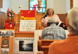 Ruby Laury, who lives in the Union Hill community, speaks during the Preservation Virginia event in Buckingham.