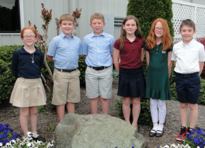 Several elementary students received all As during the academic year. Pictured are, left, Alana Shirk, Gavin Yoder, Tyler Holland, Ivy Logan, Kiley Shirk and Jacob Crawford.