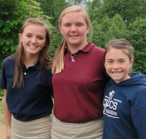 Middle school students, from left, Hannah Davis, Skylar Davis and Julianna Crawford achieved perfect attendance during the school year.