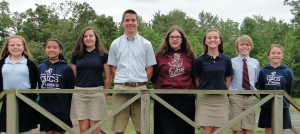 Several middle school students received all As during the academic year. Pictured are, from left, Emmaline Michaels, Brianna DeMaio, Jaclyn Slaughter, Nathan Brickhill, Kaitlyn Hucks, Hannah Davis, Caleb Walter and Julianna Crawford.