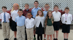Several elementary students achieved perfect attendance during the academic year. Pictured are, from left, front row, Sammy Ranson, Hunter Giffin, Ella Walker, Mattie Moss, back row,Zeb Johnson, Kelly Higginbotham, Dustin Kitchen, Cole Lefferts, Tanner Davis, Jacob Crawford and Griffin Bowen.
