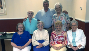 Invited guests to the Worsham High School Class of 1944 Reunion included, from left, front row, Margaret Kirtley, Nevada Atkinson, Madeline Slaydon, Wanda Hamlett, second row, Betty Quarles, Russ Oliver and Carol Carter.