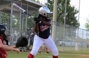 FARRAH SCHMIDT PEFYA Debs right fielder Alexis Gayles awaits the pitch during the 2016 Dixie Softball Debs World Series in Louisiana on Sunday.