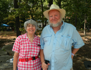 TITUS MOHLER | HERALD Jane Poulter, left, and Harry Poulter, of Buckingham, were pleased with how the Historic Buckingham Inc.'s first wine festival was proceeding.