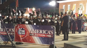 The Prince Edward County marching band performs on the FOX News Channel early Tuesday morning at Longwood University.