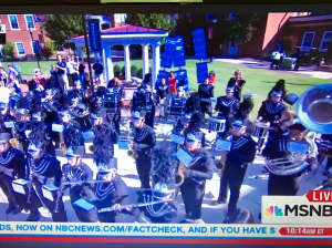 DEBORAH RUSH Deborah Rush took this picture of streaming video on her computer screen Tuesday morning as the Prince Edward County High School Marching Eagles performed live on MSNBC, stoking excitement in anticipation of the 2016 U.S. Vice Presidential Debate which took place at Longwood University that evening.