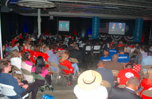 JORDAN MILES | HERALD About 250 Democrats filled the STEPS Centre Tuesday to watch U.S. Sen. Tim Kaine and Indiana Gov. Mike Pence debate in Longwood University's Willett Hall.