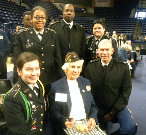 Several CHS cadets and their instructors got to meet World War II veterans while attending the program. Among them were, from left, front, Cadet Brittny Price, WWII veteran Violet Parker, JROTC Senior Instructor Col. William Carter; back, Cadet Caylor Scales, JROTC Instructor CSM Dwayne Tigs and Cadet Mackenzy Thompson.