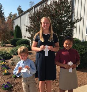 Winners from Central Virginia Christian School were, from left, Wyatt Haney, third place, kindergarten-first grade; Skylar Davis, third place, seventh-ninth grade; and Karla Rivera, third place, second-third grade.