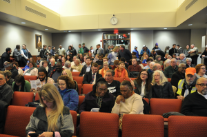 JORDAN MILES | HERALD There was standing room only during the hearing, where over 90 people signed up to speak regarding issuance of a permit for a compressor station in Buckingham.