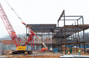 CARSON REEHER | HERALD Construction on the Upchurch University Center continues according to schedule on Longwood's main campus.