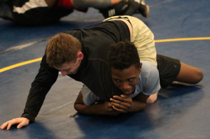 TITUS MOHLER | HERALD Cumberland High School junior Davidrick Brooks, right, practices against senior Ricky Kirby in advance of the Rural Retreat Invitational this weekend.