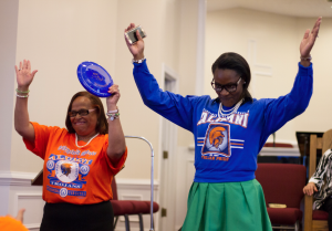 Joyce Gregory Booker, left, and Sonia Evans celebrate being Virginia State University alumnae.