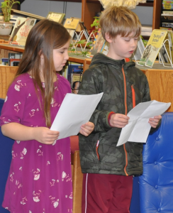 Elementary school students Sydney Winslow and Anthony Worrell introduced the participants during the Cumberland Spelling Bee.