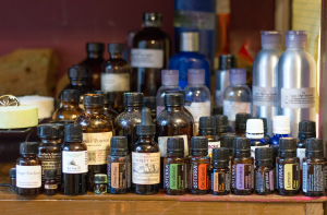 A wide variety of oils sit on Webb's shelf in her home where she likes to create an array of toiletries from scratch.