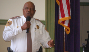MORGAN WHITE | HERALD Prince Edward Sheriff Wesley Reed speaks to the students about law enforcement in the county and Farmville.