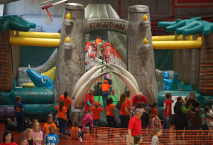 Second-grade students from across the area play in the Dr. Seuss-themed obstacle course.