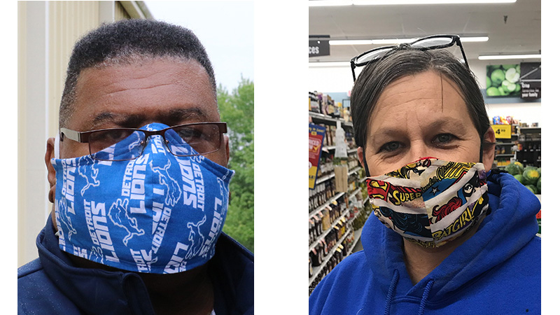 Residents show off their mask fashion